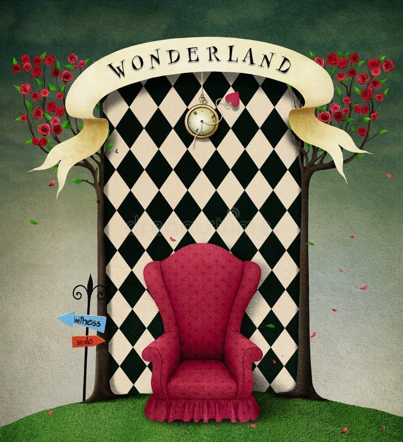 Il paese delle meraviglie del fondo di fantasia royalty illustrazione gratis