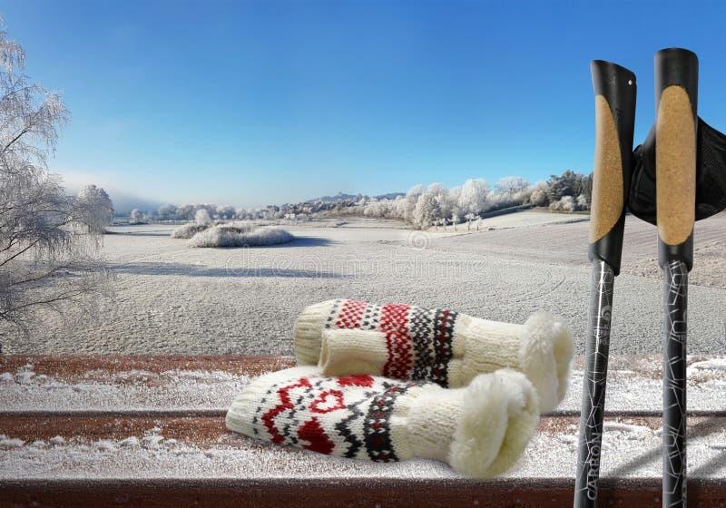 Il paese delle meraviglie di camminata nordico di inverno del gelo di sport della neve di inverno fotografie stock libere da diritti