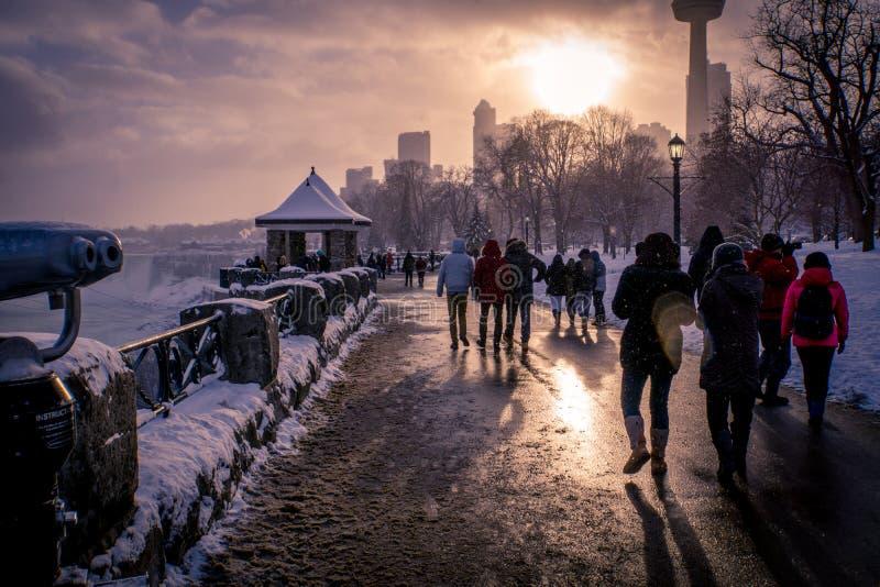Il paese delle meraviglie di inverno di Niagara fotografie stock libere da diritti