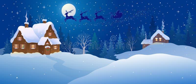 Il paese delle meraviglie di inverno di notte di Natale illustrazione di stock