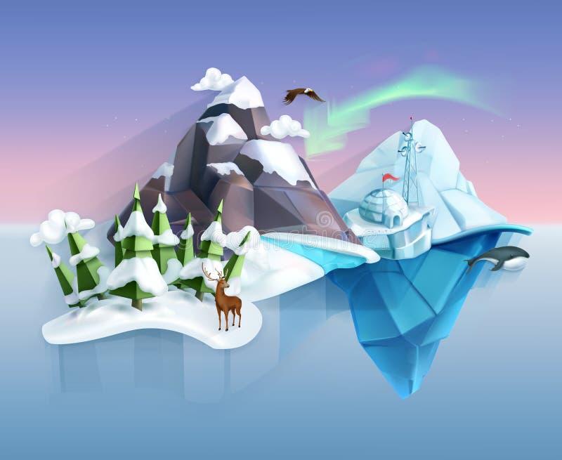 Il paese delle meraviglie polare di inverno della natura illustrazione di stock