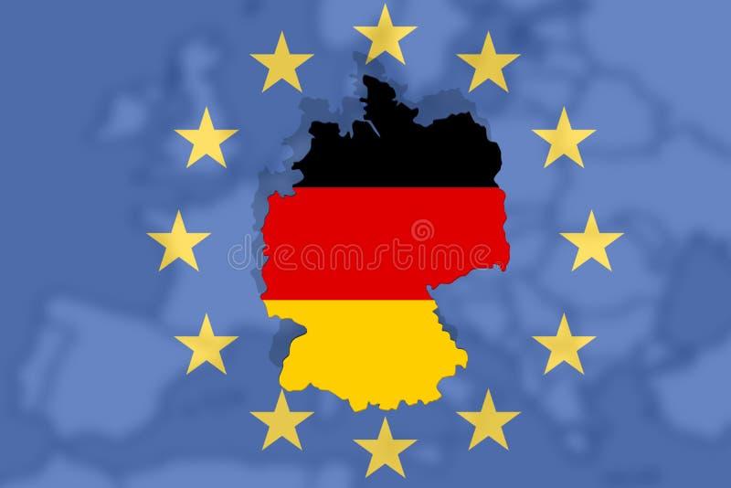 Il paese europeo Germania con la bandiera natiolan sul fondo di Europa e l'euro firmano illustrazione di stock