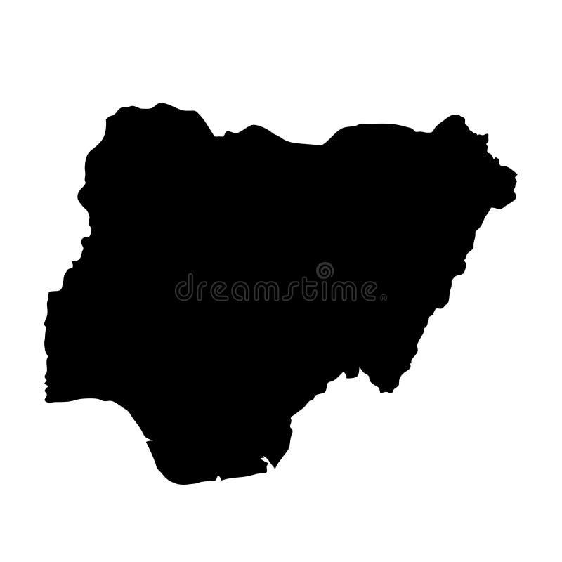 Il paese nero della siluetta confina la mappa della Nigeria sul backgro bianco illustrazione vettoriale
