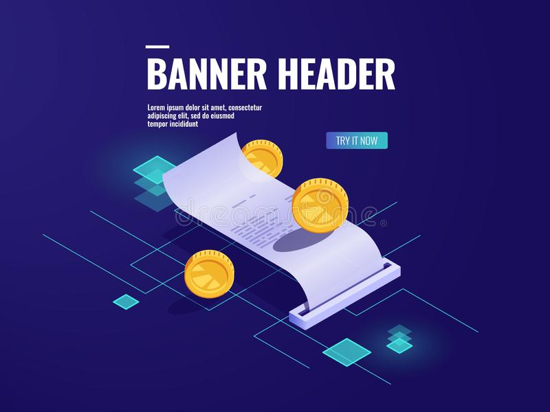 Il pagamento online, incarta il vettore isometrico dell'icona della ricevuta, accusa la moneta, il concetto di transazione dei so illustrazione di stock