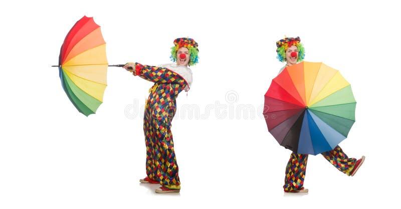 Il pagliaccio con l'ombrello isolato su bianco fotografia stock libera da diritti
