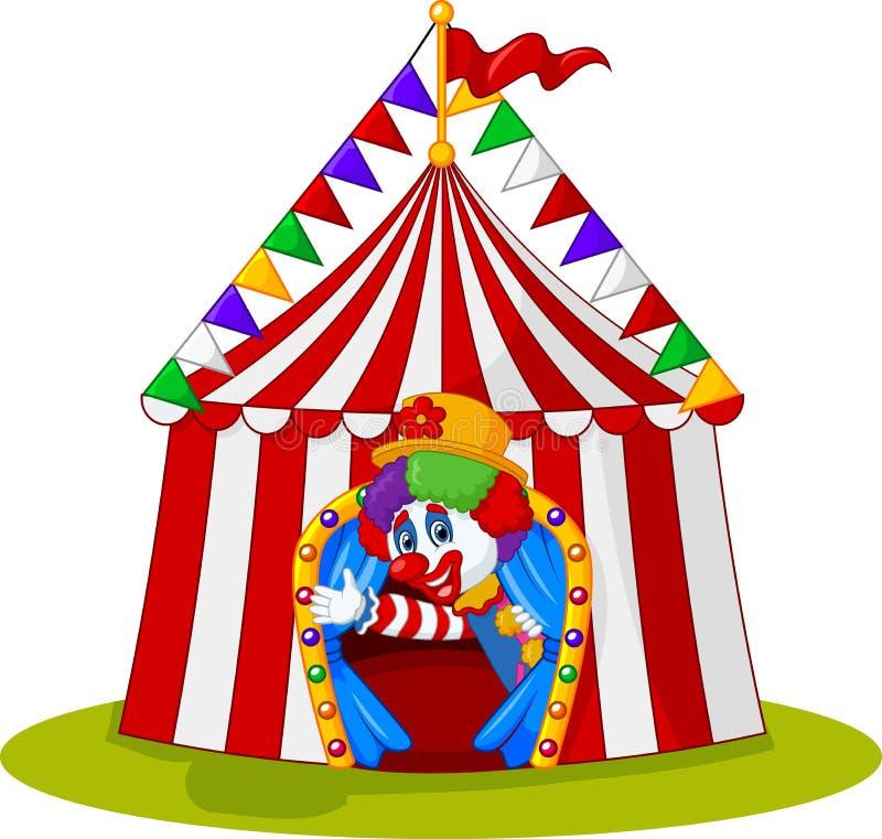 Il pagliaccio del fumetto esce dalla tenda di circo illustrazione di stock