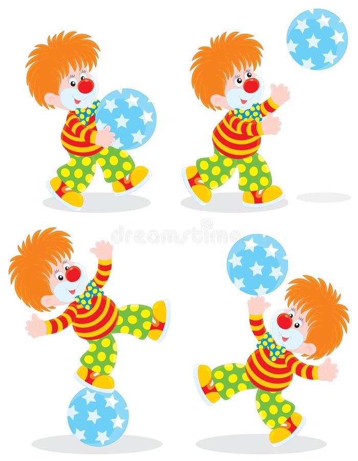 Il pagliaccio di circo gioca una sfera illustrazione vettoriale