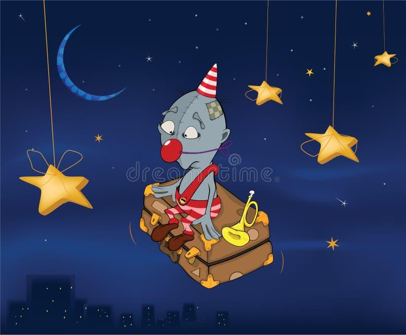 Il pagliaccio vola su una valigia. Notte celebratoria. C illustrazione vettoriale