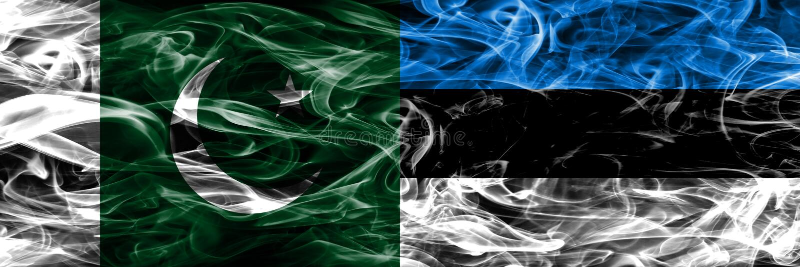 Il Pakistan contro le bandiere del fumo dell'Estonia disposte parallelamente Colore spesso fotografia stock libera da diritti
