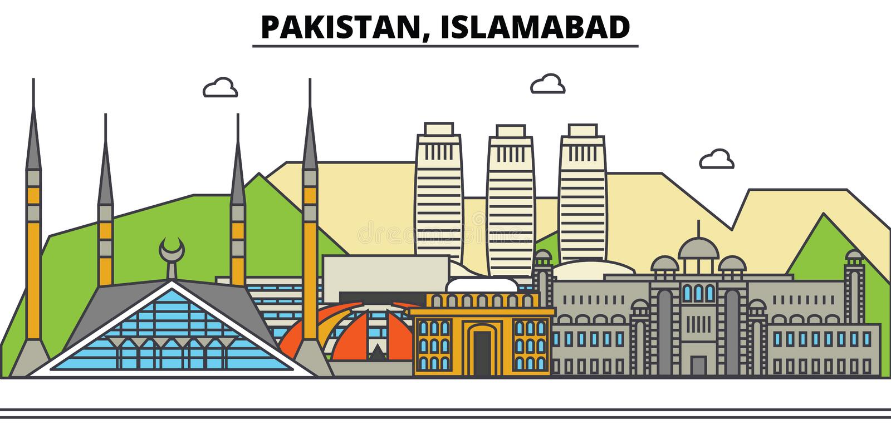 Il Pakistan, Islamabad Architettura dell'orizzonte della città editable illustrazione vettoriale