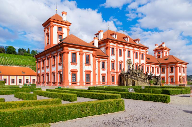 Il palazzo di Troja è un palazzo barrocco situato in Troja, repubblica Ceca di nord-ovest della città di Praga immagini stock