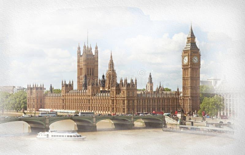 Il palazzo di Westminster, di Elizabeth Tower e del ponte di Westminster immagini stock libere da diritti