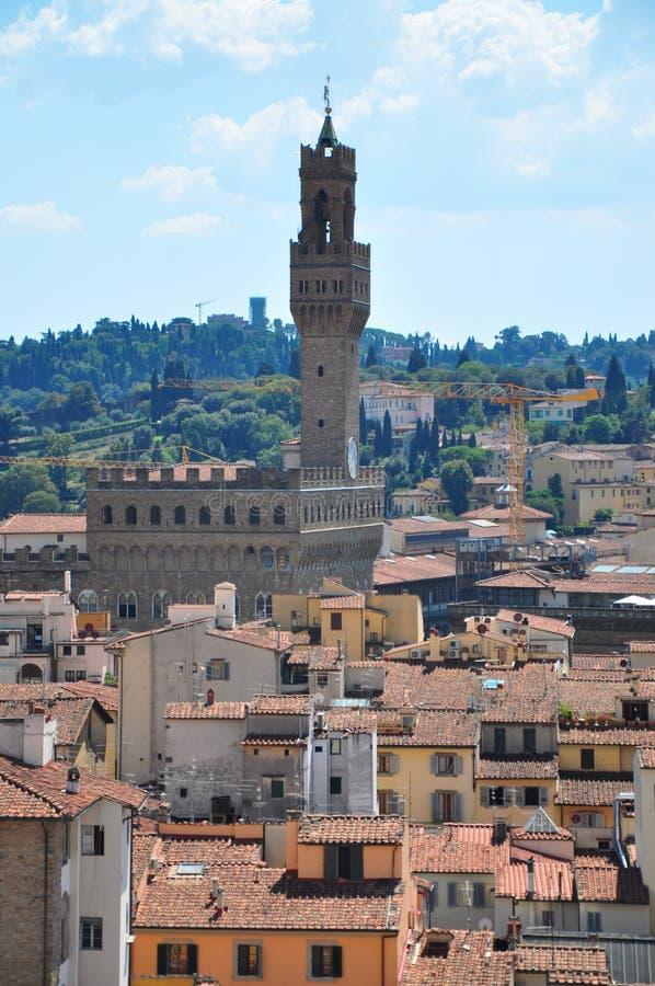 Il Palazzo Vecchio con la sua torre in della Signoria della piazza a Firenze fotografia stock libera da diritti
