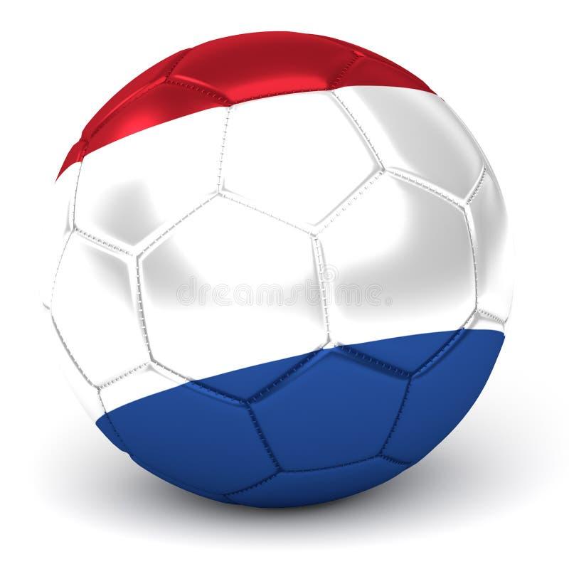 Il pallone da calcio con la bandiera olandese 3D rende illustrazione di stock