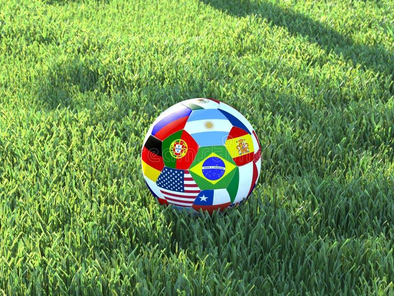 Il pallone da calcio inbandiera l'erba fotografia stock