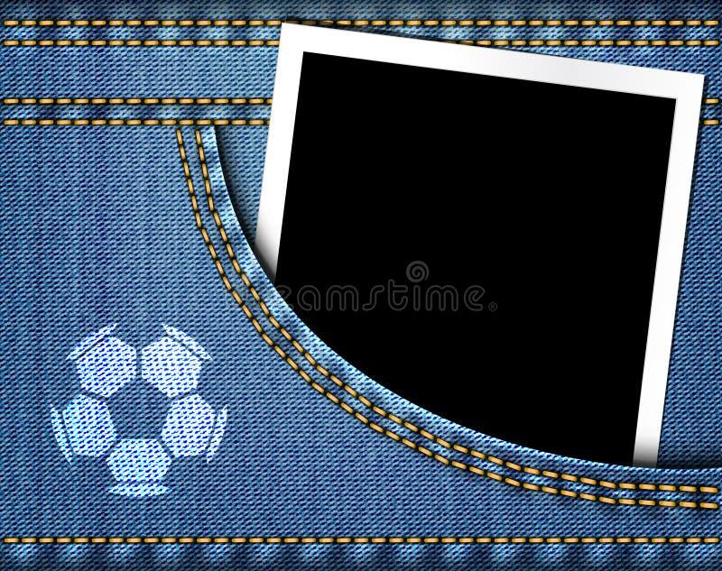 Il pallone da calcio sui jeans e la struttura in bianco della foto in blue jeans intascano illustrazione vettoriale