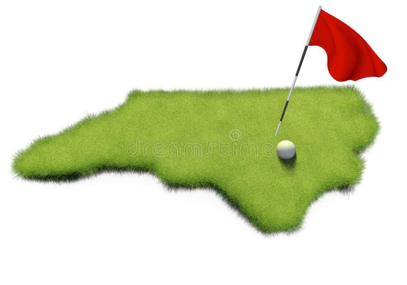 Il palo di bandiera e della palla da golf su verde mettente di corso ha modellato come lo stato della Nord Carolina royalty illustrazione gratis