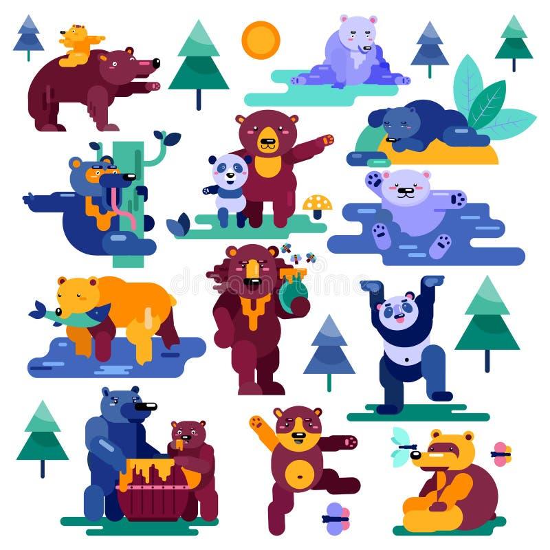 Il panda animale del carattere del fumetto di vettore dell'orso e l'orso grigio marrone che mangiano il cuscinetto animale dell'i illustrazione vettoriale