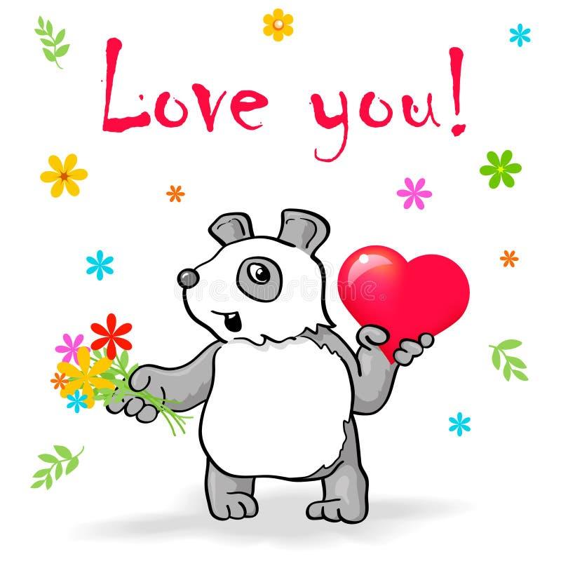 Il panda divertente con cuore dice l'amore voi! royalty illustrazione gratis