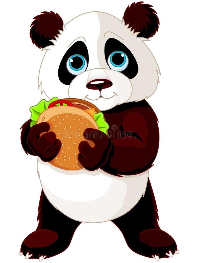 Il panda mangia l'hamburger illustrazione vettoriale