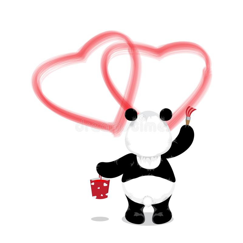 Il panda sta con un secchio di pittura e di una spazzola e disegna due ri royalty illustrazione gratis