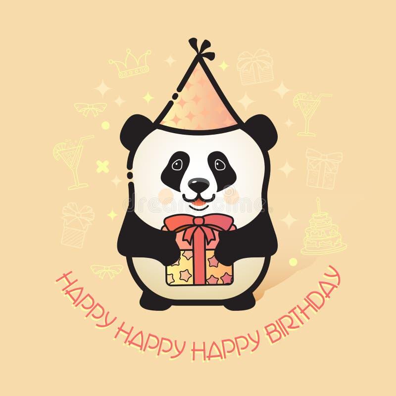 Il panda sveglio dell'orso tiene un regalo Scheda di buon compleanno illustrazione di stock