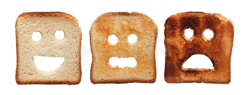 Il pane del pane tostato ha bruciato diversamente fotografie stock