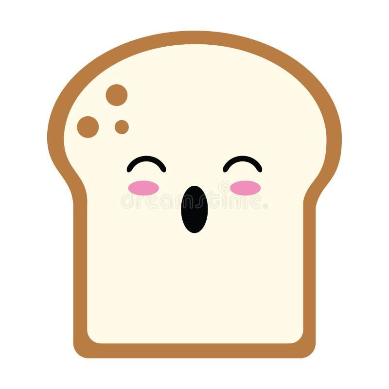 Il pane ha affettato il fumetto sorpreso di kawaii illustrazione vettoriale