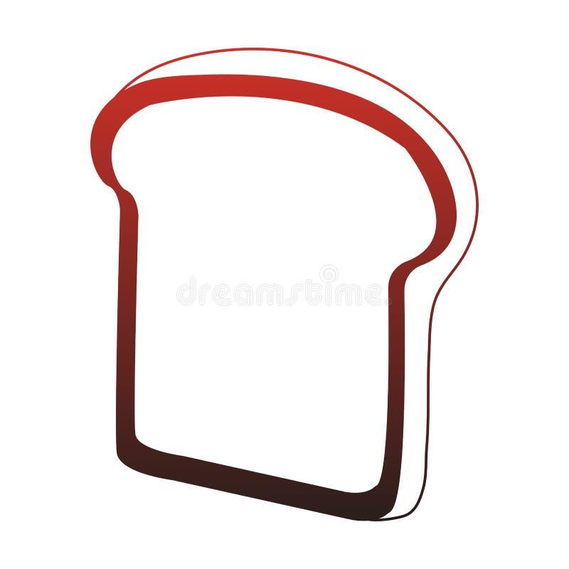 Il pane ha affettato le linee rosse isolate illustrazione vettoriale