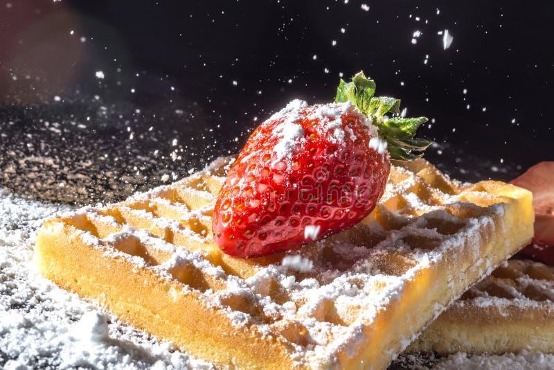 Il pane tostato dolce waffles con la fragola con le foglie sulla cima e sul vagliare la polvere di versamento dello zucchero nel  immagine stock