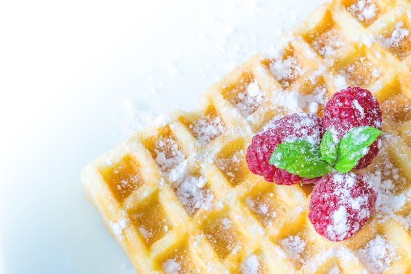 Il pane tostato dolce waffles prima colazione con i lamponi e con il ramoscello del primo piano di macro delle foglie di menta Vi fotografia stock libera da diritti