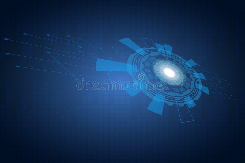 Il pannello di controllo del sistema domestico astuto Girato verso il cerchio tecnologico laterale Tono blu royalty illustrazione gratis