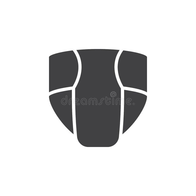 Il pannolino eliminabile, vettore dell'icona del pannolino, ha riempito il segno piano, pittogramma solido isolato su bianco illustrazione di stock