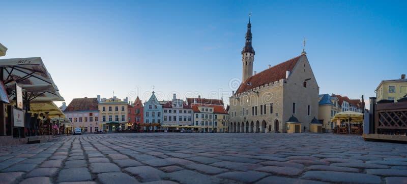 Il panorama del municipio e Raekoja quadrano, Tallinn immagine stock libera da diritti