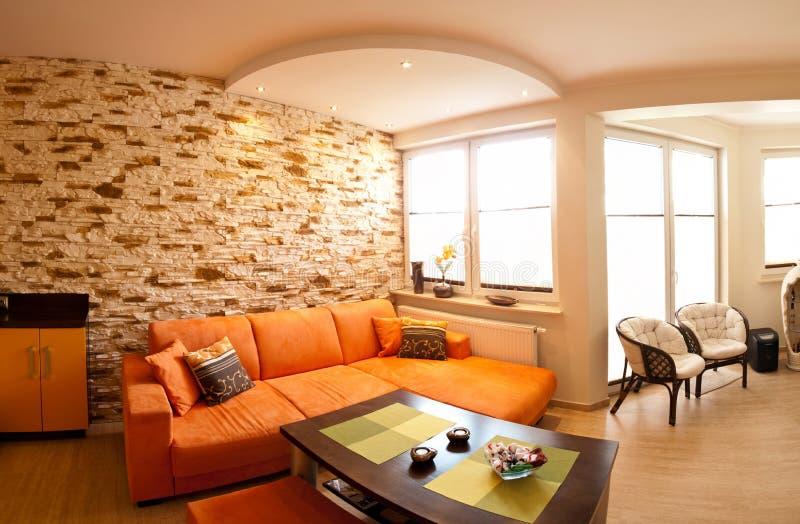 Panorama arancio della stanza fotografia stock