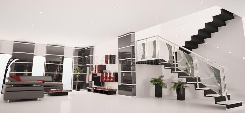 Il panorama interno 3d dell'appartamento moderno rende illustrazione di stock