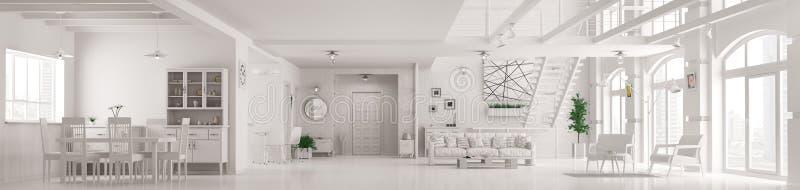 Il panorama interno 3d dell'appartamento bianco moderno del sottotetto rende royalty illustrazione gratis