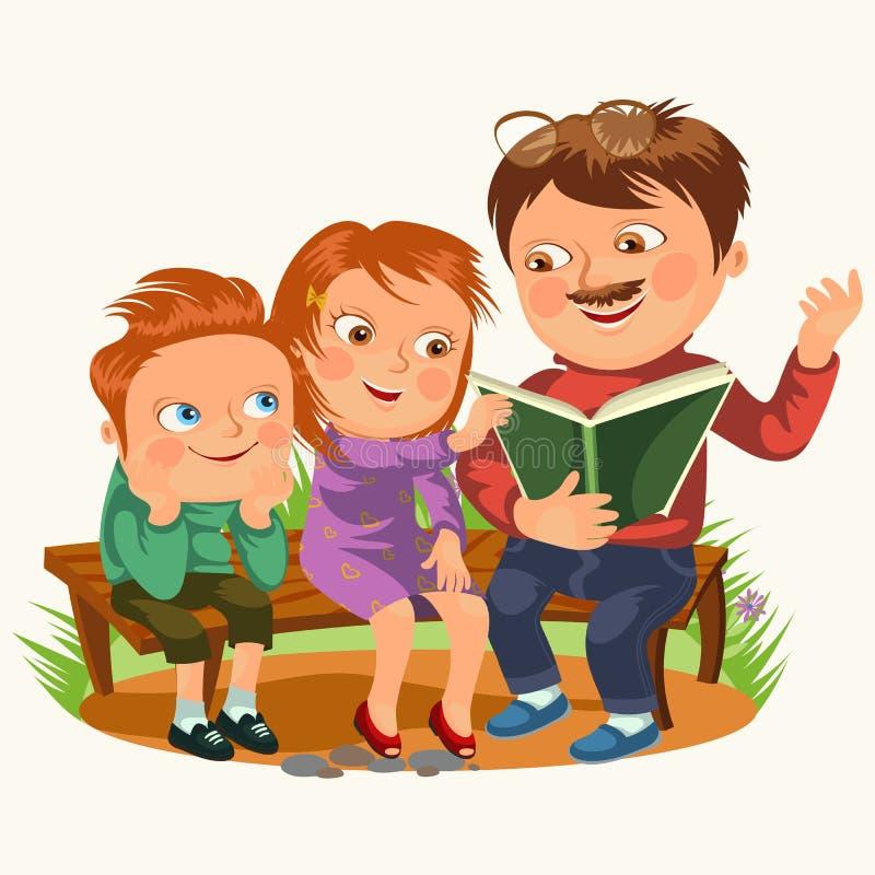 Il papà ha letto il libro per i bambini nel banco di legno del parco, bambini della famiglia che leggono le fiabe, ragazzino e la illustrazione di stock