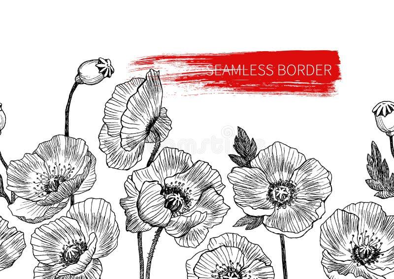 Il papavero senza cuciture del confine fiorisce tirato e lo schizzo con linea-arte sugli ambiti di provenienza bianchi Disegno di illustrazione vettoriale