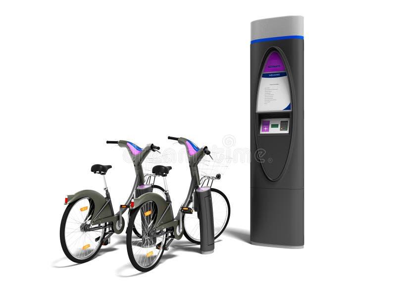 Il parcheggio pagato di concetto per le biciclette 3d rende su fondo bianco illustrazione vettoriale