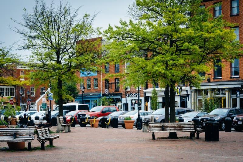 Il parco e le costruzioni dentro abbatte il punto, Baltimora, Maryland immagine stock libera da diritti