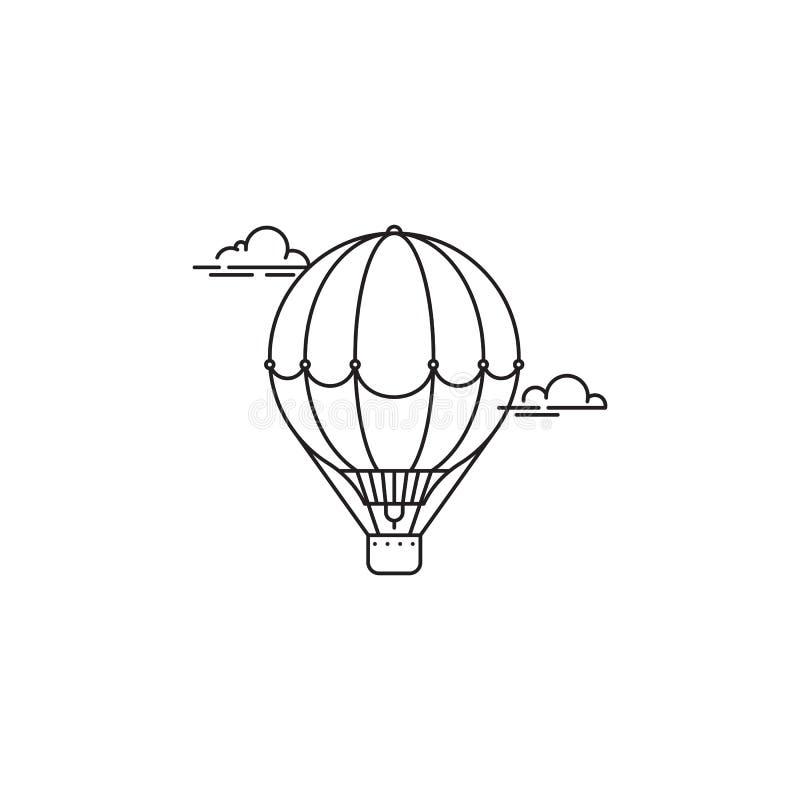 Il parco e il playgroundAir balloon la progettazione lineare di vettore dell'icona isolati su fondo bianco Modello di logo del pa illustrazione vettoriale