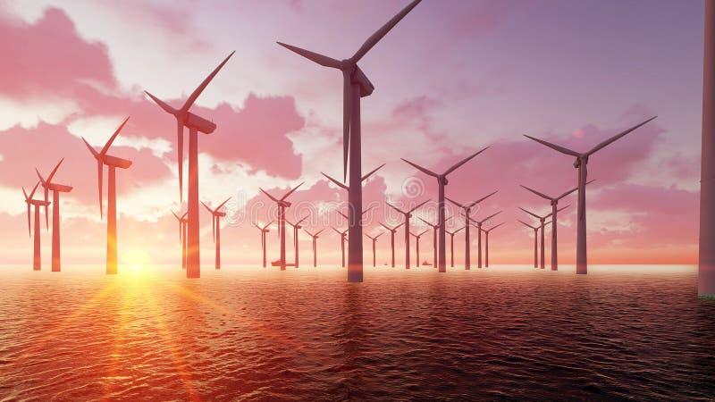 Il parco eolico al crepuscolo ed il mare 3D rendono illustrazione di stock