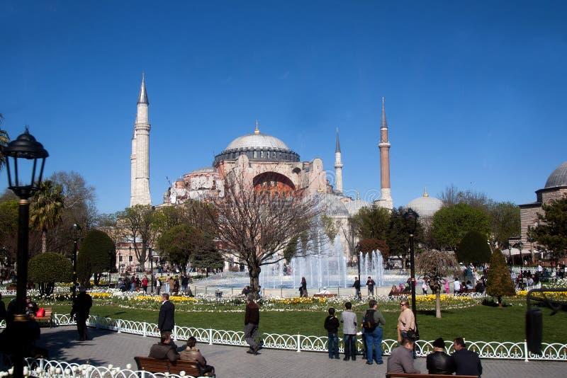 Il parco fra Hagia Sophia e moschea blu Costantinopoli fotografia stock libera da diritti
