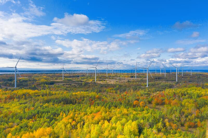 Il parco Windmills di Paldiski Impianto di turbina eolica vicino al Mar Baltico Paesaggio d'autunno con mulini a vento, foresta a fotografia stock libera da diritti