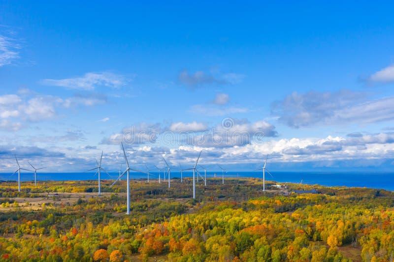 Il parco Windmills di Paldiski Impianto di turbina eolica vicino al Mar Baltico Paesaggio d'autunno con mulini a vento, foresta a fotografie stock libere da diritti