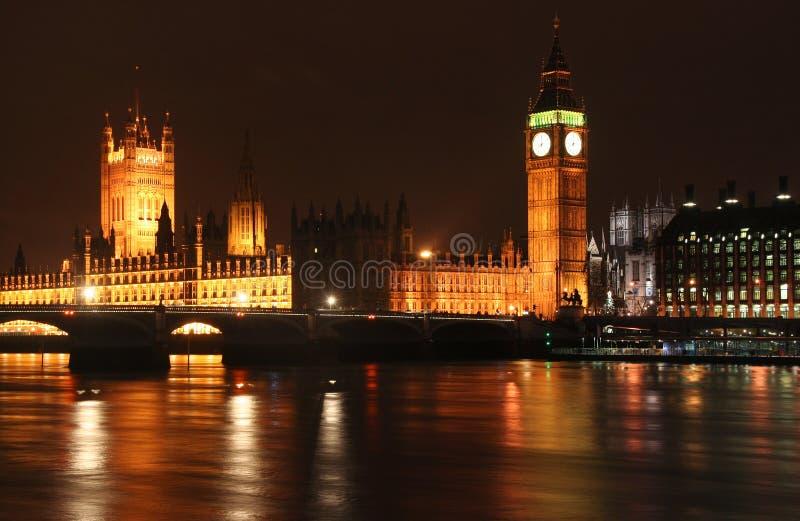 Il Parlamento alla notte immagini stock libere da diritti