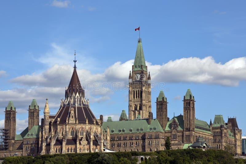 Il Parlamento canadese si concentra il blocco e la libreria fotografia stock libera da diritti