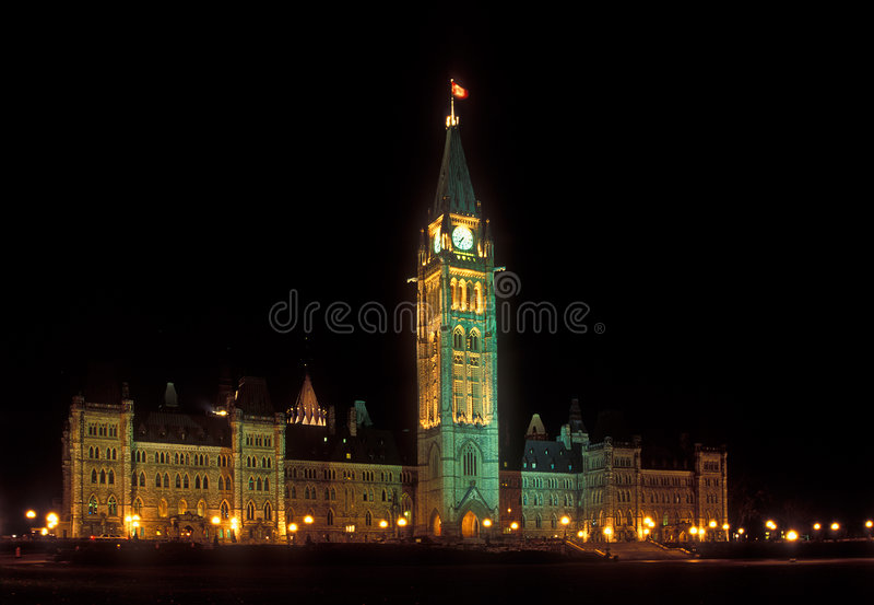Il Parlamento del Canada alla notte fotografia stock