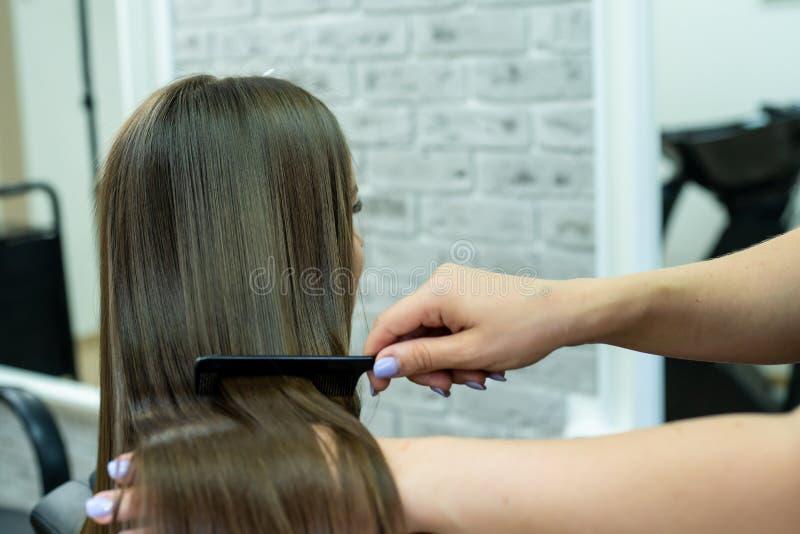 Il parrucchiere fa la laminazione dei capelli in un salone di bellezza per una ragazza con capelli castana immagini stock libere da diritti